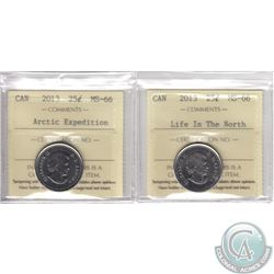 Lot of 2x 25-cent Canada 2013 ICCS Certified MS-66: Life in the North & Arctic Expedition. 2pcs