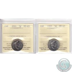 Lot of 2x 5-cent Canada ICCS Certified MS-65 Dated 1995 & 2001. 2pcs