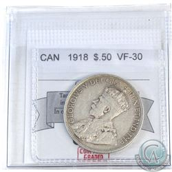 50-cent Canada 1918 CMG Certified VF-30