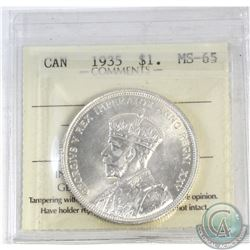 Silver $1 1935 ICCS Certified MS-65