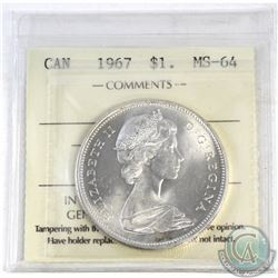Silver $1 1967 ICCS Certified MS-64