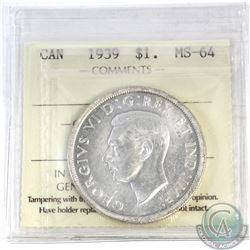 Silver $1 1939 ICCS Certified MS-64