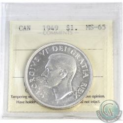 Silver $1 1949 ICCS Certified MS-65