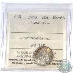 10-cent Canada 1940 ICCS Certified MS-63