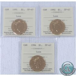 1991, 1992 & 1994 Canada Loon Dollar ICCS Certified SP-67. 3pcs