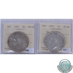 Lot of 2x 1952 Canada $1 ICCS Certified Waterline MS-60 (Cleaned) & No Waterline MS-62. 2pcs