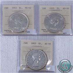 Lot of 3x Canada $1 ICCS Certified 1953 Shoulder Fold MS-62, 1955 AU-50 & 1957 One Waterline AU-50.