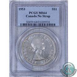 1953 Canada $1 No Shoulder Strap PCGS Certified MS-64
