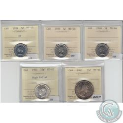 5-cent Canada 1954 SF ICCS Certified MS-63, 1959 5-cent MS-60, 1960 5-cent MS-64, 1951 25-cent High