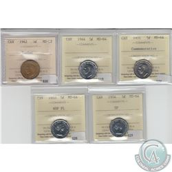 5-cent Canada 1942 Tombac (MS-62), 1944, 1951 Commemorative, 1953 NSF FL & 1954 SF ICCS Certified MS