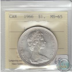 Silver $1 Canada 1966 Large Beads ICCS Certified MS-65