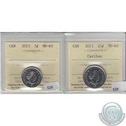 2015 Canada 5ct & 25ct ICCS Certified MS-65. 2pcs