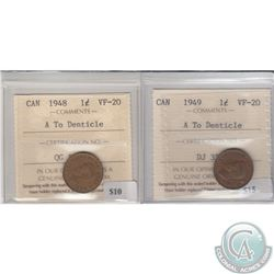 1948 & 1949 A to Denticle 1ct ICCS Certified VF-20. 2pcs