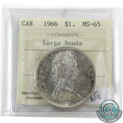 1966 Canada Silver Dollar ICCS Certified MS-65