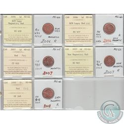 Mixed Page of 5x Canada 1ct Dated 2006 Magnetic Logo, 2006 Non-Magnetic Logo, 2007 Magnetic, 2007 No