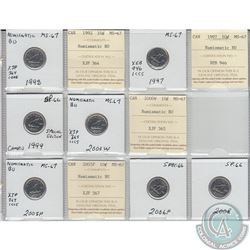 Mixed Page of 7x Canada 10ct Dated 1992, 1997, 1999, 2000W, 2005P, 2006P & 2008 MS-67 Numismatic BU