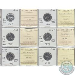 Mixed Page of 6x Canada 25ct Dated 1967-1975 ICCS Certified PL-65 or PL-66, some Cameo or Heavy Came