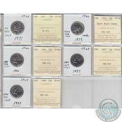 Mixed Page of 5x Canada 25ct Dated 1971, 1973, 1996, 1997 & 1998 ICCS Certified SP-66 or SP-67. Thes