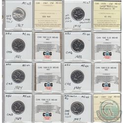 Mixed Page of 8x Canada 25ct Dated 1967-1997. These coins were initially Certified by ICCS or CMG, h