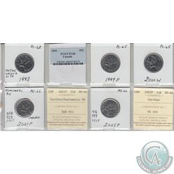 Mixed Page of 5x Canada 25ct Dated 1993-2005P PL-68, PL-65 or MS-66. Date 1993 was PCGS Certified an