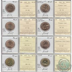 Mixed Page of 8x Canada Loon $1 Dated 2005-2015 ICCS Certified MS-65. These coins were initially Cer