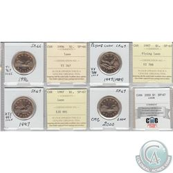 Mixed Page of 4x Canada Loon $1 Dated 1996-2000 ICCS/CMG Certified SP-67 or SP-66. These coins were