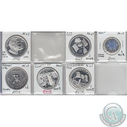 Mixed Page of 6x Canada Commemorative Proof Silver $1 & $5 Dated 1995, 2005, 2006 Snowflake, 2010 Ho