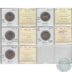 Mixed Page of 5x Canada $2 Dated 2001-2007 ICCS Certified MS-65. These coins were initially Certifie