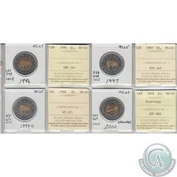 Mixed Page of 4x Canada $2 Dated 1996, 1997, 1998O & 2000 Knowledge ICCS Certified MS-65. These coin