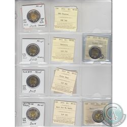 Mixed Page of 6x Canada $2 Dated 2012-2015 ICCS Certified MS-65. These coins were initially Certifie