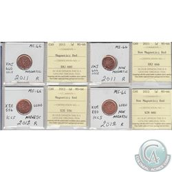 2011 & 2012 Magnetic & Non Magnetic 1-cents in MS-66 as stated on the holder. These coins were initi