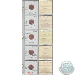 2000, 2001, 2002P, 2004 &2008 Canada 1-cents in MS-65 with the original ICCS Certificate. These coin