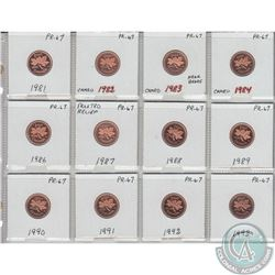 12x Canada Proof 1-cent in PR-67 as stated on the holder. The dates you will receive are: 1981, 1982