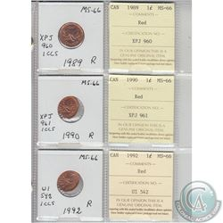 1989, 1990 & 1992 Canada 1-cent MS-66 with original ICCS certificates. Coins were initially Certifie