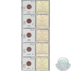 1989, 1991, 1992, 1993 & 1994 Canada 1-cents MS-65 with original ICCS Certificate. Coins were initia