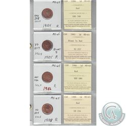 1984, 1985 Blunt5, 1986, & 1988 Canada 1-cent MS-65 with Original ICCS Certified. Coins were initial