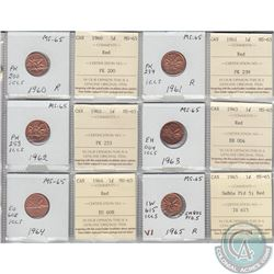 1960, 1961, 1962, 1963, 1964 & 1965 Small Beads Pointed 5 Canada 1-cent MS-65 with original ICCS Cer
