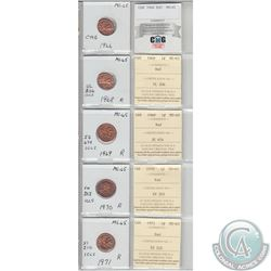 1966, 1968, 1969, 1970, & 1971 Canada 1-cents MS-65 with original certificates. Coins were initially