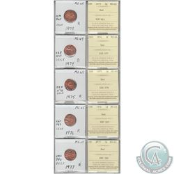 1973, 1974, 1975, 1976 & 1977 Canada 1-cents MS-65 with original ICCS Certificates. Coins were initi