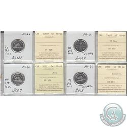2002P, 2005P, 2007 & 2008 Canada 5-cent MS-66.  Coins were initially Certified by ICCS, however the