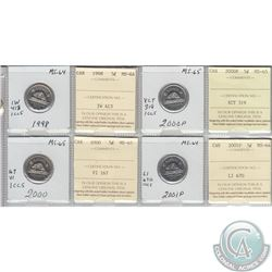 1998, 2000, 2000P & 2001P Canada 5-cent MS-65. Coins were initially Certified by ICCS, however the c