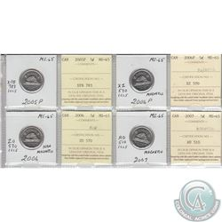 2005P, 2006, 2006P & 2007 Canada 5-cent MS-65.  Coins were initially Certified by ICCS, however the