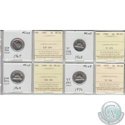 1967, 1968, 1969, 1970 Canada 5-cent MS-64/65.  Coins were initially Certified by ICCS, however the