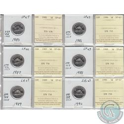 1980, 1986, 1987, 1988, 1989 & 1990 Canada 5-cent SP-66/67.  Coins were initially Certified by ICCS,