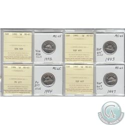 1992, 1993, 1994 & 1997 Canada 5-cent MS-65.  Coins were initially Certified by ICCS, however the co