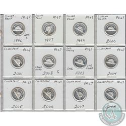 12x Canada 5-cents PR-67 as stated on the holder. The dates you will receive are: 1996, 1997, 1999,