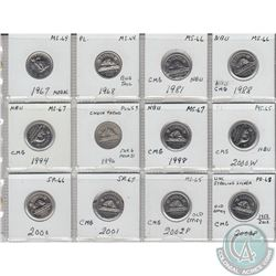 12x Canada 5-cents in MS/PR/SP Condition. The dates you will receive are: 1967, 1968, 1981, 1988, 19