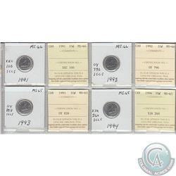 1991, 1992, 1993 & 1994 Canada 10-cent MS-66.  Coins were initially Certified by ICCS, however the c