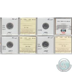 1995, 1996, 1997 & 1998 Canada 10-cents MS-64/65.  Coins were initially Certified by ICCS, however t