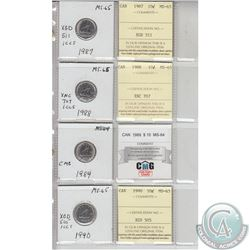 1987, 1988, 1989, 1990 Canada 10-cent MS64/65.   Coins were initially Certified by ICCS, however the